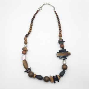 Chicos Wooden Bead Necklace Long Ethnic Boho